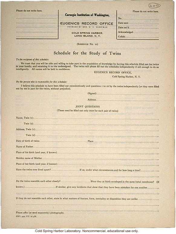 &quote;Schedule for the Study of Twins,&quote; Eugenics Record Office form