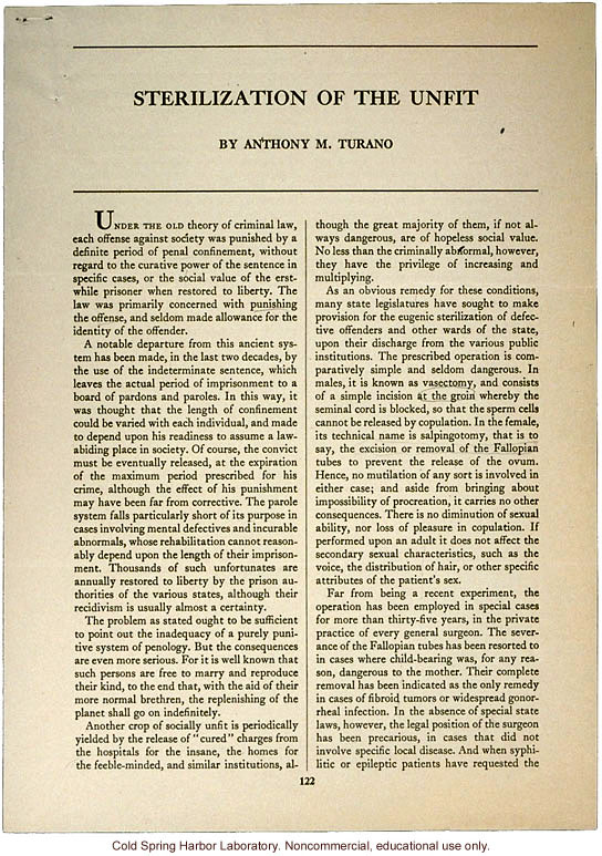 &quote;Sterilization of the Unfit&quote; by Anthony M. Turano, Forum (February 1934)