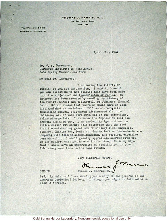 T.J. Harris letter to C.B. Davenport, about hereditary genius (4/5/1934)