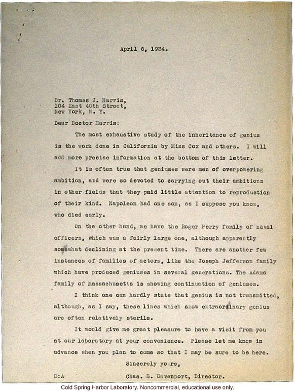 C.B. Davenport response to T.J. Harris, about hereditary genius (4/6/1934)