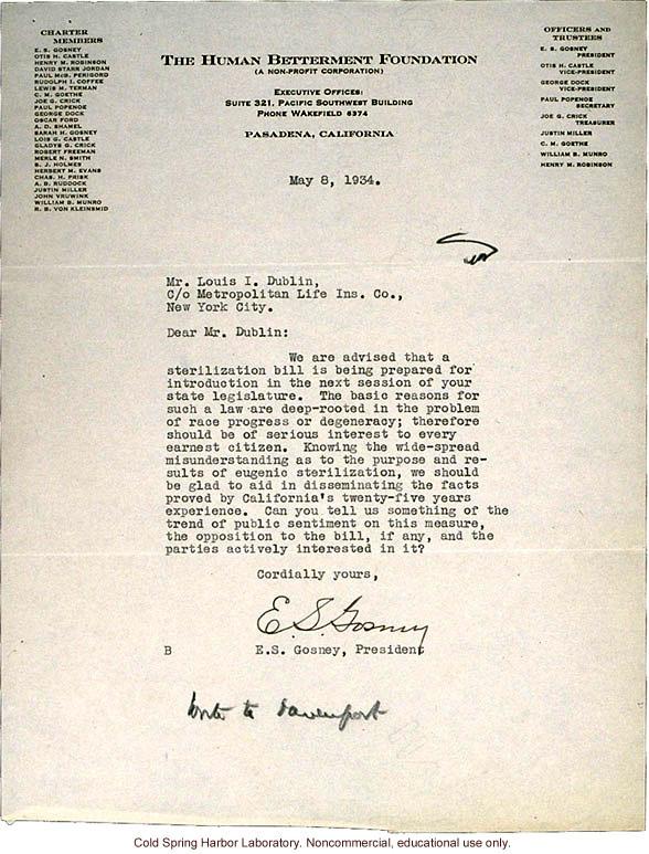 E.S. Gosney (Human Betterment Foundation) letter to L.I. Dublin (Metropolitan Life Insurance Company), about pending NY sterilization bill (5/8/1934)