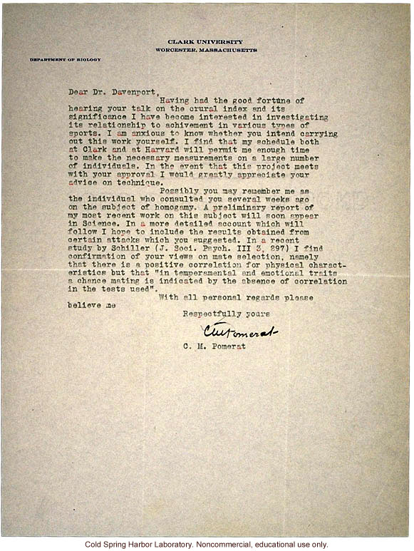 C.M. Pomerat letter to C.B. Davenport, about a study of the relationship between &quote;crural index&quote; (leg length) and athletic ability