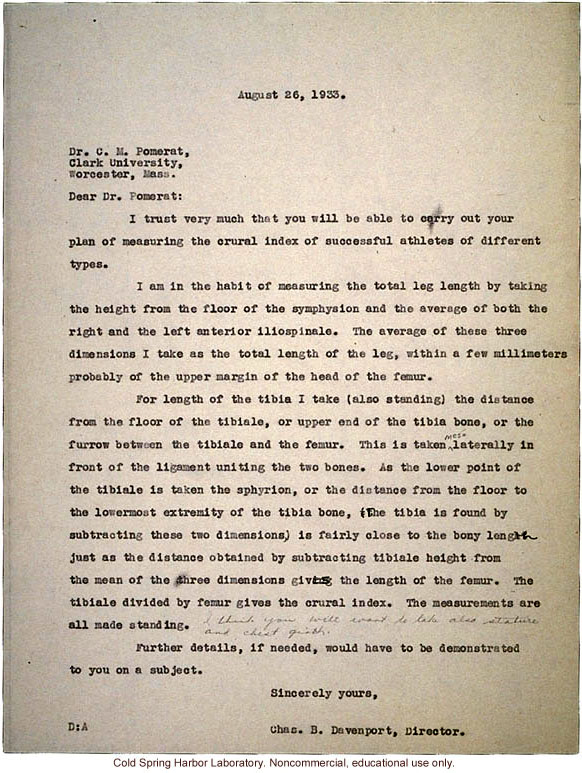 C.B. Davenport response to C.M. Pomerat, about measurements for a study of &quote;crural index&quote; (leg length) and athletic ability (8/26/1933)