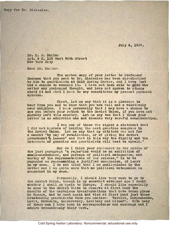 C.B. Davenport letter to H.J. Muller, about reasons against holding a genetics congress in Russia (7/6/1937)