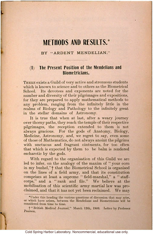 &quote;The Present Position of the Mendelians and Biometricians,&quote; The Mendel Journal, focusing on the &quote;battle&quote; over intermediate forms