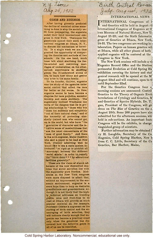 &quote;Genes and Eugenics,&quote; New York Times (8/24/1932), critical review of Third International Eugenics Congress