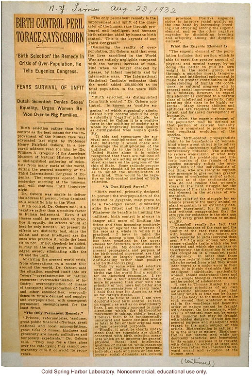 &quote;Birth Control Peril to Race, Says Osborn,&quote; New York Times (8/23/1932), review of H.F. Osborn's paper at Third International Eugenics Congress
