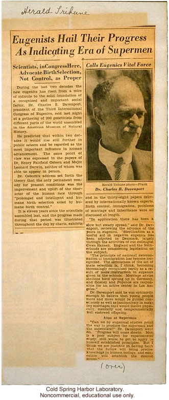 &quote;Eugenicists Hail Their Progress as Indicating Era of Supermen,&quote;  New York Herald Tribune (1932), review of Third International Eugenics Congress