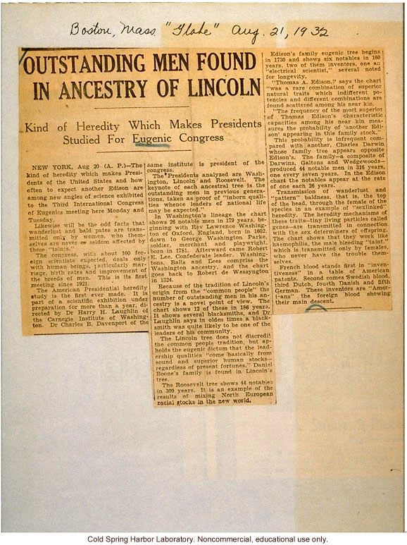 &quote;Outstanding Men Found in Ancestry of Lincoln,&quote; Boston Globe (8/21/1932), review of exhibits at Third International Eugenics Congress