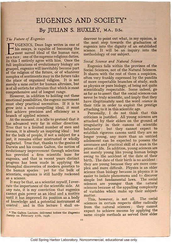 &quote;Eugenics and Society&quote; (The Galton Lecture given to the Eugenics Society), by Julian S. Huxley, Eugenics Review (vol 28:1)