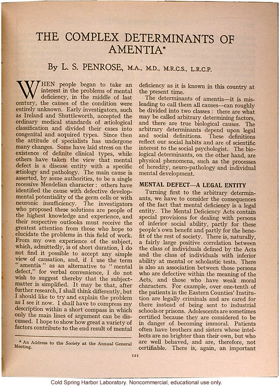 &quote;The Complex Determinants of Amentia,&quote; by L.S. Penrose, Eugenics Review (vol. 26:2)