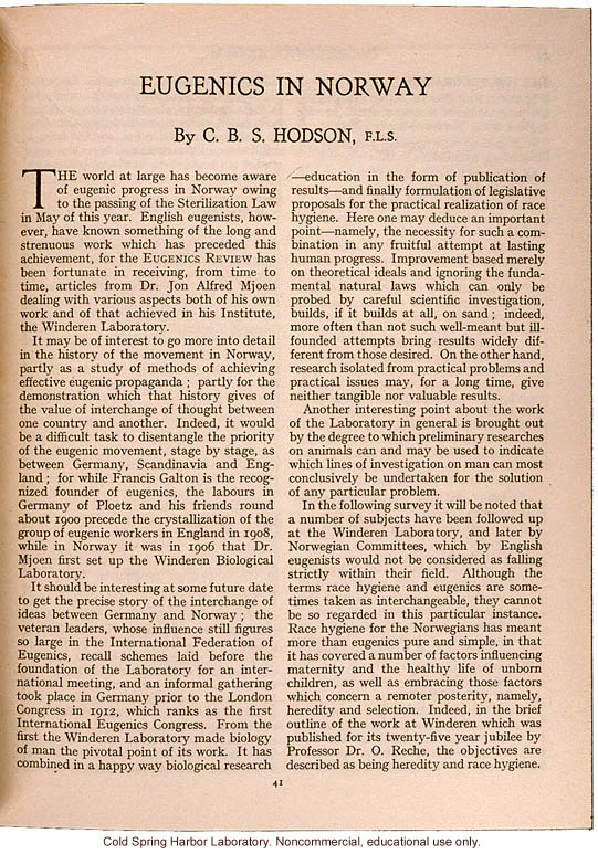 &quote;Eugenics in Norway,&quote; by C.B.S. Hodson, Eugenics Review (vol. 27:1)