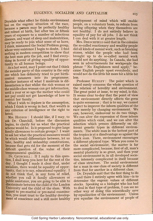 &quote;Eugenics, Socialism, and Capitalism,&quote; Eugenics Review (vol. 27), Julian Huxley's comments on heredity and environment