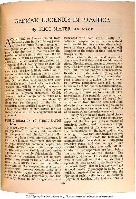 &quote;German Eugenics in Practice,&quote; by Eliot Slater, Eugenics Review (vol. 27:4), ambivalent review of sterilization and marriage laws