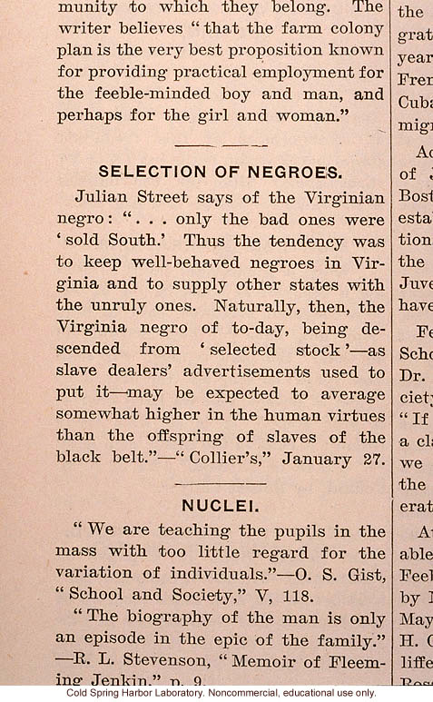 &quote;Selection of Negroes,&quote; Eugenical News (vol. 2), eugenic effect of slave trading in the South