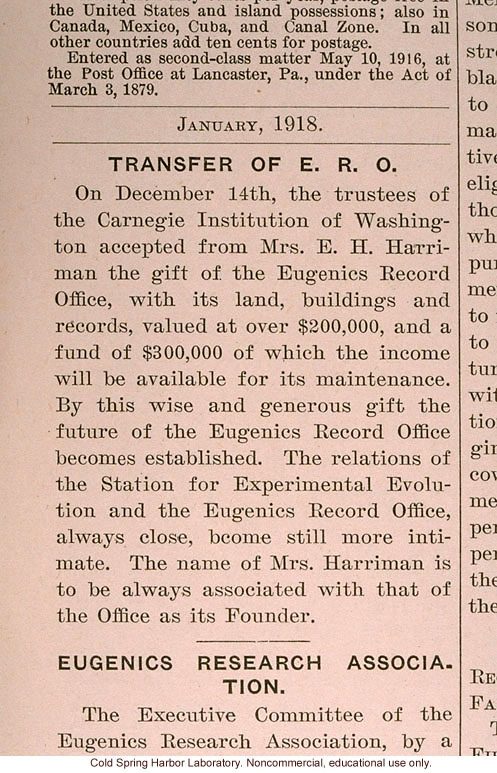 &quote;Transfer of ERO,&quote; Eugenical News (vol. 3), Carnegie Institution accepts gift of Eugenics Record Office from Mrs. E.H. Harriman
