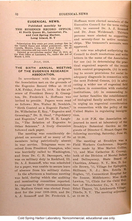 &quote;The Sixth Annual Meeting of the Eugenics Research Association,&quote; July 21, 1918, Eugenical News (vol. 3)