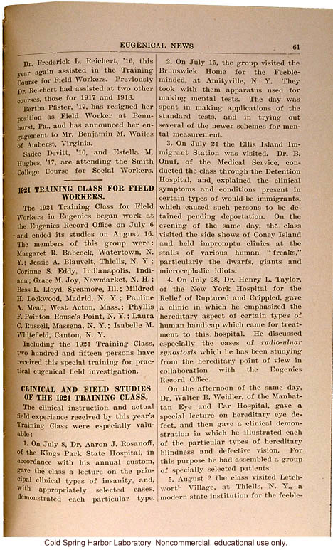 &quote;Clinical and Field Studies of the 1921 Training Class,&quote; Eugenics Record Office,  Eugenical News (vol. 6)