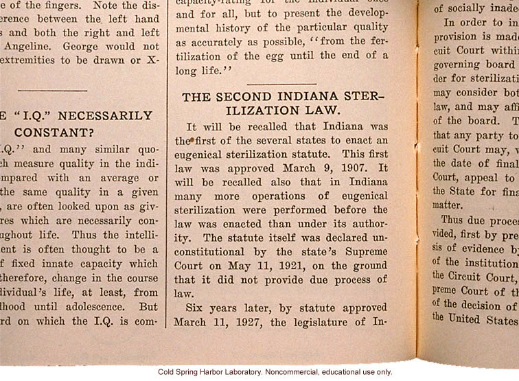 &quote;The Second Indiana Sterilization Law,&quote; Eugenical News (vol. 15)