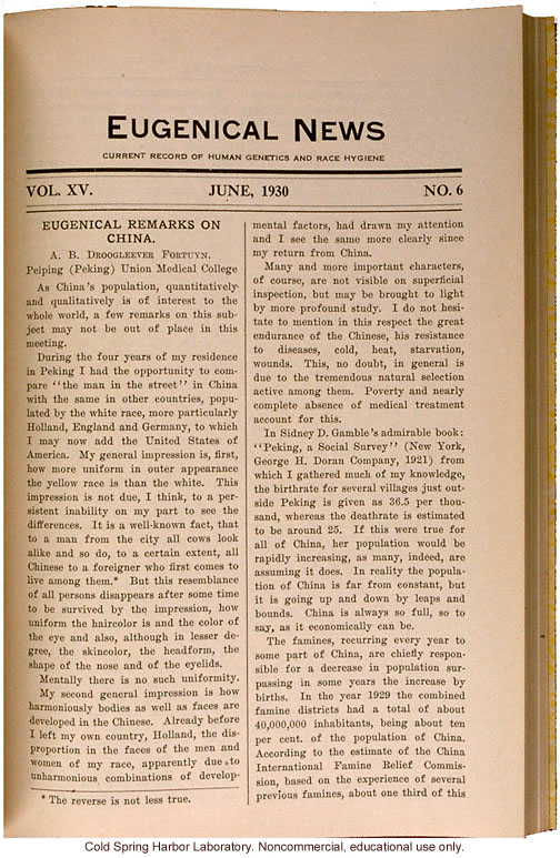 &quote;Eugenical Remarks on China,&quote; by A.B. Droogleever Fortuyn, Eugenical News (vol. 15:6)