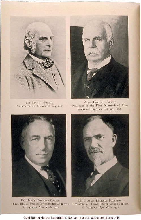 Francis Galton and Presidents of International Eugenics Congresses: Major L. Darwin, H. F. Osborn, C.B. Davenport, Eugenical News (vol. 17)