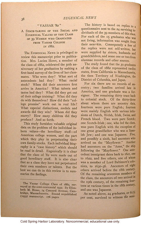 &quote;Vassar '82,&quote; Eugenical News (vol.18), ancestry and achievements of Vassar graduates from a survey by Mrs. Lucien Howe