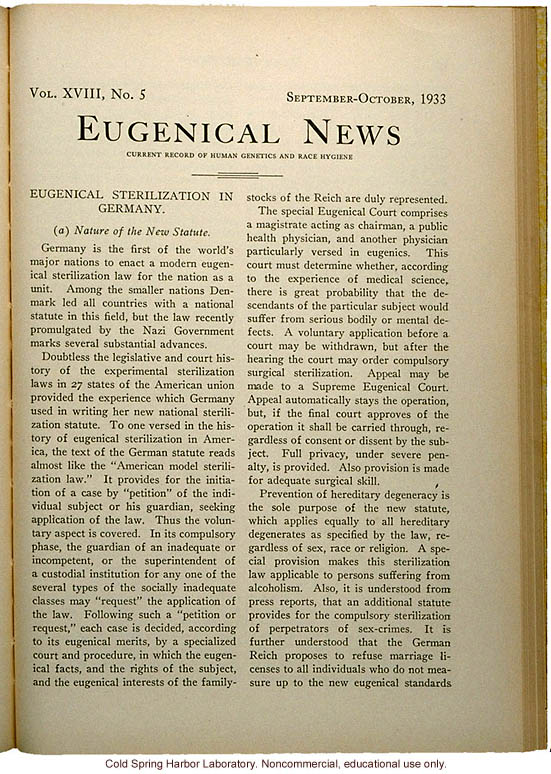 &quote;Eugenical Sterilization in Germany,&quote; Eugenical News (vol. 18:5), commentary and full translation of the German sterilization statute of 1933