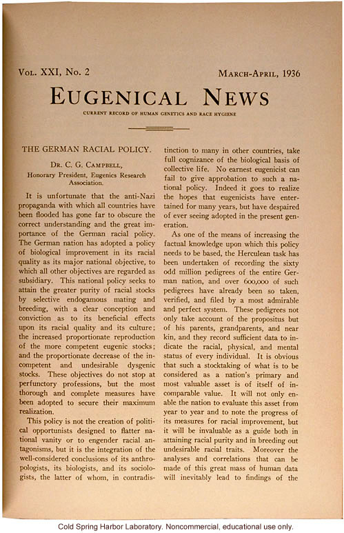 &quote;The German Racial Policy,&quote; by C.G. Campbell, Eugenical News (vol.21:2)