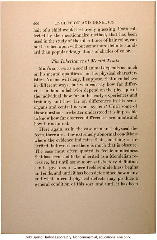 &quote;The Inheritance of Mental Traits,&quote; from Evolution and Genetics, by Thomas H. Morgan, an early criticism of eugenics in an important text