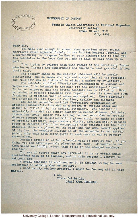 Karl Pearson cover letter for study on &quote;Hereditary Transmission of Disease and Temperment&quote; (version 2)