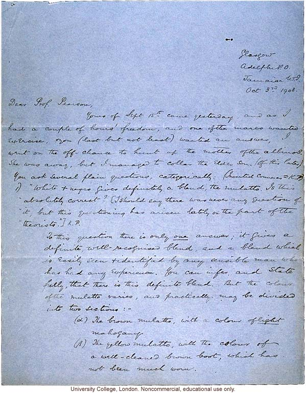 Isaac Costa letter to Karl Pearson, about race mixing in Jamaica with reference to mulatto &quote;just under your nose&quote; (10/3/1908)