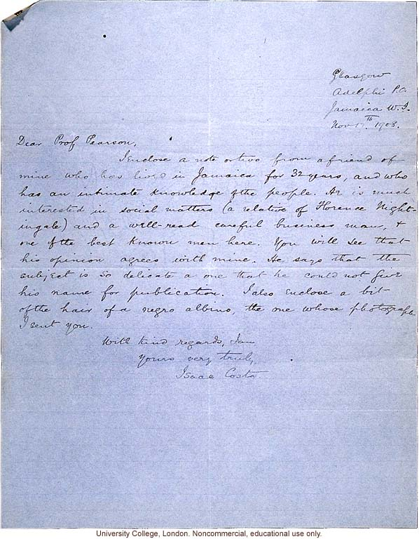 Issac Costa letter to Karl Pearson, with observations of race mixing in Jamaica provided his friend, &quote;a relative of Florence Nightingale&quote; (11/17/1908)