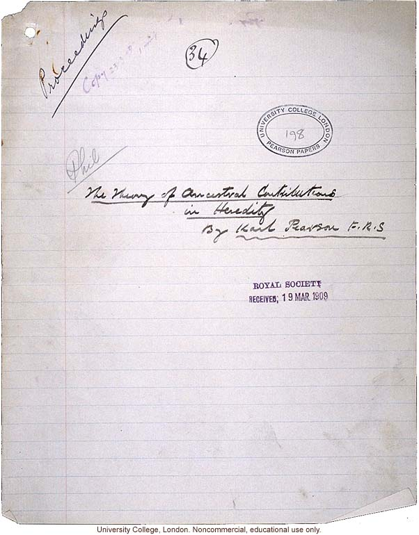 &quote;Theory of Ancestral Contributions in Heredity,&quote; handwritten manuscript by Karl Pearson, published in Proceedings of the Royal Society (vol. 81:547)