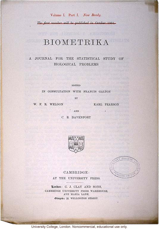 Announcement for &quote;Biometrika, A Journal for the Statistical Study of Biological Problems,&quote; established by Karl Pearson