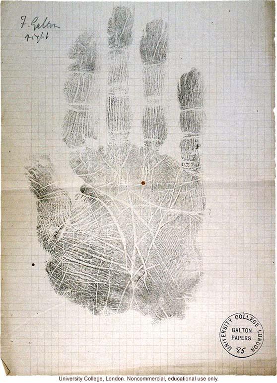 Francis Galton's right hand print