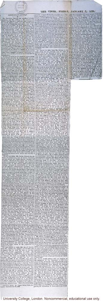 Review of <i> Hereditary Genius</i>, <i>The Times</i> (1/7/1870)