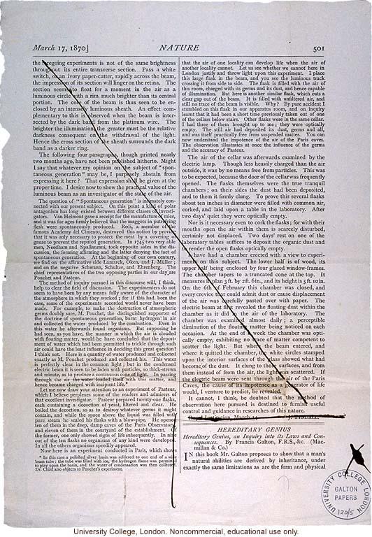 Review of <i> Hereditary Genius</i>, <i>Nature</i> (3/17/1870)