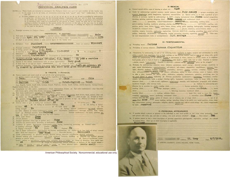 Individual analysis card, example 3