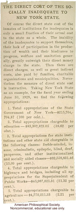 &quote;The Direct Cost of the Socially Inadequate to New York State&quote;