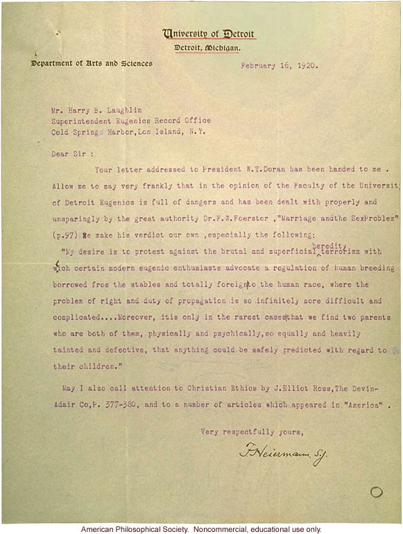 Response on behalf of W.T. Doran to Harry E. Laughlin, about eugenics instruction survey