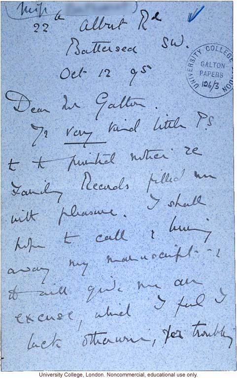 K. Bathurst letter to Francis Galton, about family records (10/12/1895)
