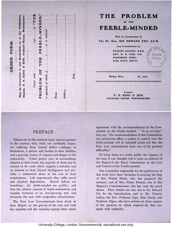 Advertising piece for <i>The Problem of the Feeble-Minded</i>, by the Poor Law Commissioners (preface and order form)
