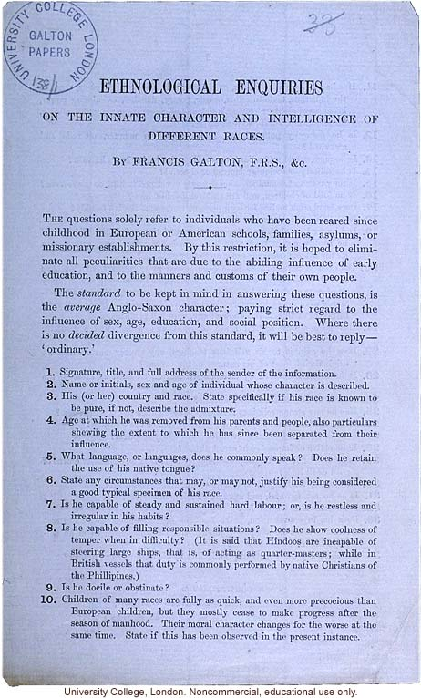 Directions for responding to a survey on &quote;Ethnological Enquiries on the Innate Character and Intelligence of Different Races,&quote; by Francis Galton