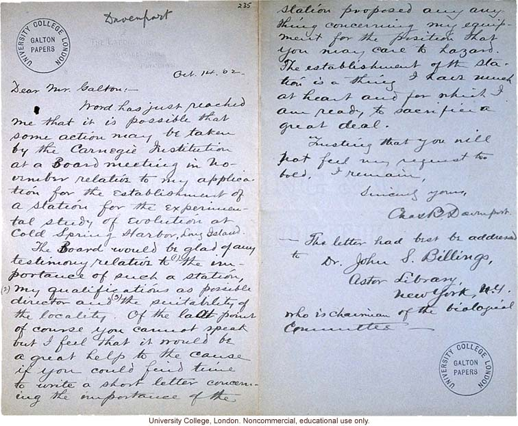 Charles Davenport letter to Francis Galton, requesting a reference for his proposal for the Station for Experimental Evolution (10/14/1902)