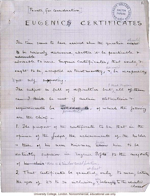 Handwritten proposal for issuing &quote;eugenic certificates&quote; to physically and mentally superior men aged 23-30, by Francis Galton
