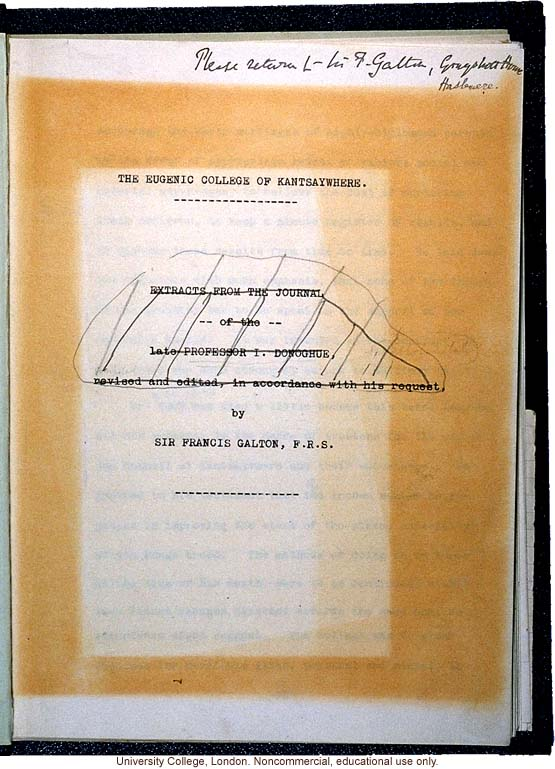 Manuscript of the &quote;Eugenic College of Kantsaywhere,&quote; by Francis Galton (title page and page with a definition of &quote;genetic&quote;)