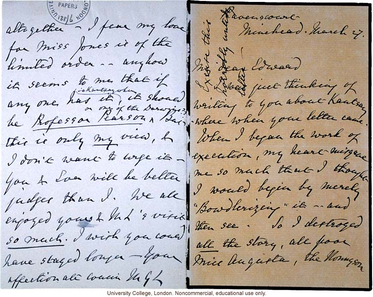 F. Galton letter to his cousin Edward, asking him to review his manuscript of &quote;Kantysaywhere&quote; and pass it on to Karl Pearson