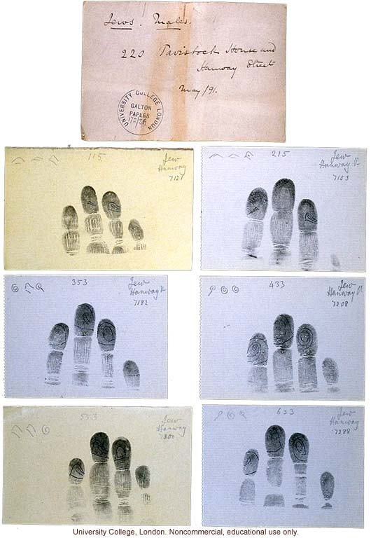 Francis Galton's fingerprint cards of Jewish males, Tavistock House and Hanway Street School (5/1891)