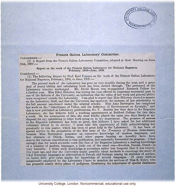 &quote;Report on the work of the Francis Galton Laboratory for National Eugenics, February1908-June 1909&quote;
