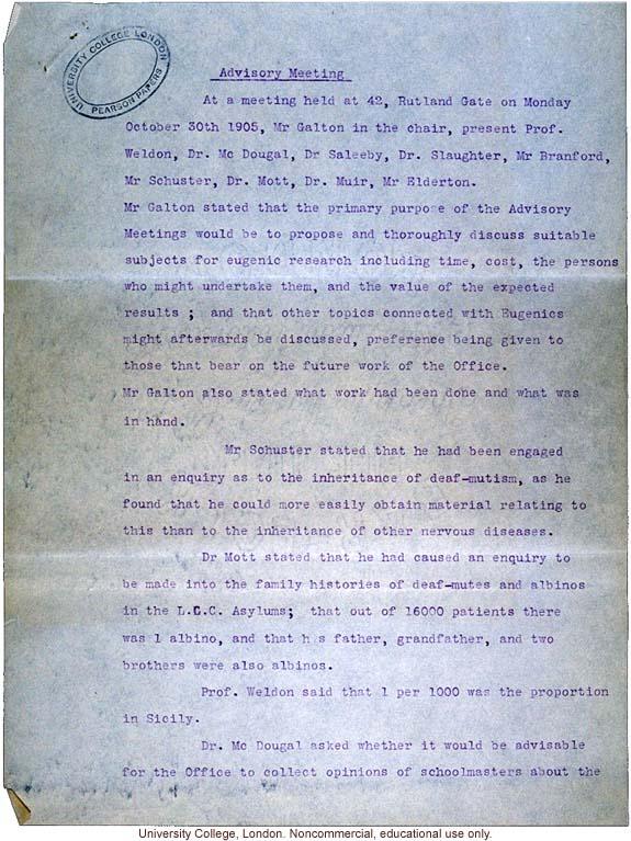 Minutes of Eugenics Records Office (London) Advisory Meeting (10/30/1905)